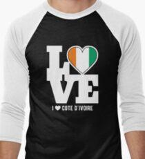 Love Cote d'Ivoire T-Shirt Patriotic Ivorian Expat Men's Baseball ¾ T-Shirt