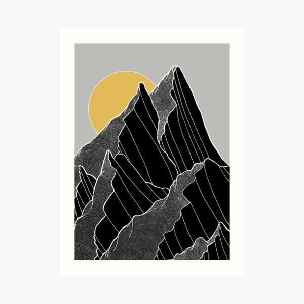Die dunklen Gipfel unter der goldenen Sonne Kunstdruck