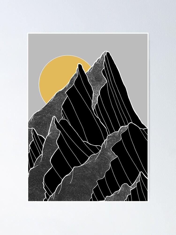 Alternate view of The dark peaks under the golden sun Poster