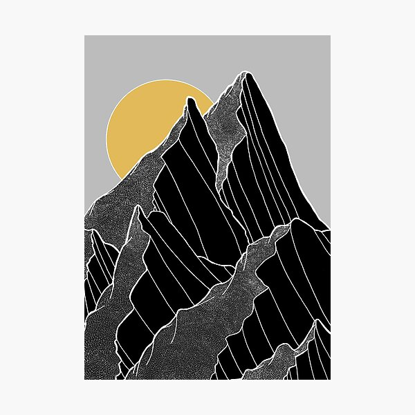 The dark peaks under the golden sun Photographic Print