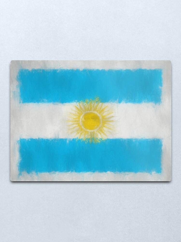 Alternate view of Argentinian Flag Reworked No. 66, Series 3 Metal Print