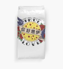 Pizza Love Tattoo Duvet Cover