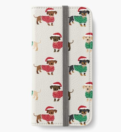 Dachshund christmas sweater cute holiday gifts doxie dachsie dog breed iPhone Wallet