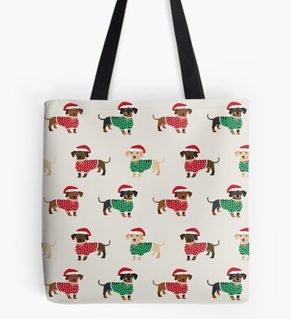 Dachshund christmas sweater cute holiday gifts doxie dachsie dog breed Tote Bag