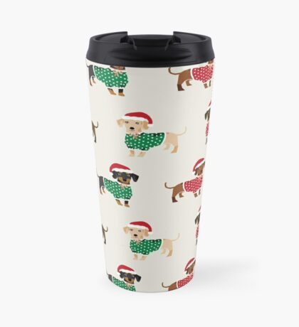 Dachshund christmas sweater cute holiday gifts doxie dachsie dog breed Travel Mug