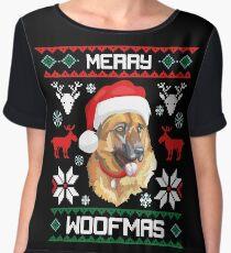 German Shepherd Dog Merry Woofmas Christmas Gift Chiffon Top