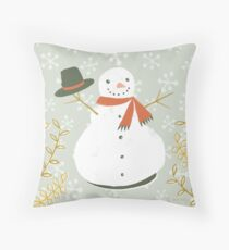 Happy Frosty Snowman by Katy Bloss Throw Pillow