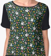 Bunny Wearing a Scarf and Flowers Chiffon Top