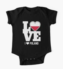 Love Poland T-Shirt Patriotic Polish Expat One Piece - Short Sleeve