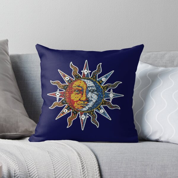 Celestial Mosaic Sun/Moon Throw Pillow