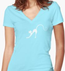 White cat in night Women's Fitted V-Neck T-Shirt