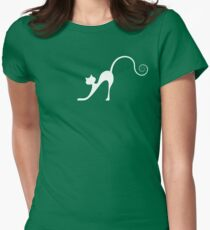 White cat in night Women's Fitted T-Shirt