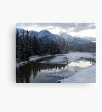 Reflections of Winter, Rocky Mountains Metal Print