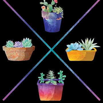 Succulent Cactus Potted Plants Minimalist X Design by TrendyTees12