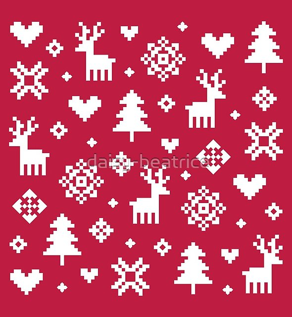 Pixel Pattern - Winter Forest - Red and White by daisy-beatrice
