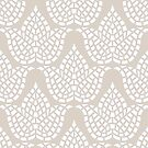 Hygge Pattern Mosaic Botanical Beige Grey And White by theartofvikki