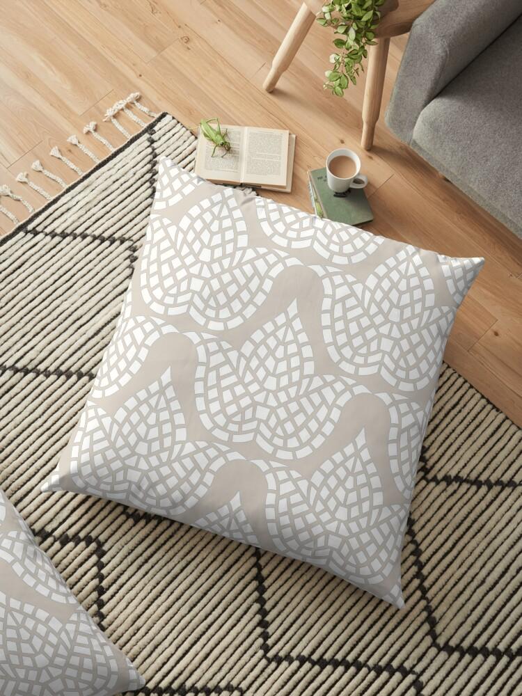 Hygge Pattern Mosaic Botanical Beige Grey And White by theartofvikki