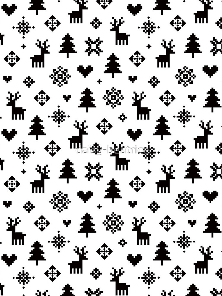 Pixel Pattern - Winter Forest - Black and White by daisy-beatrice