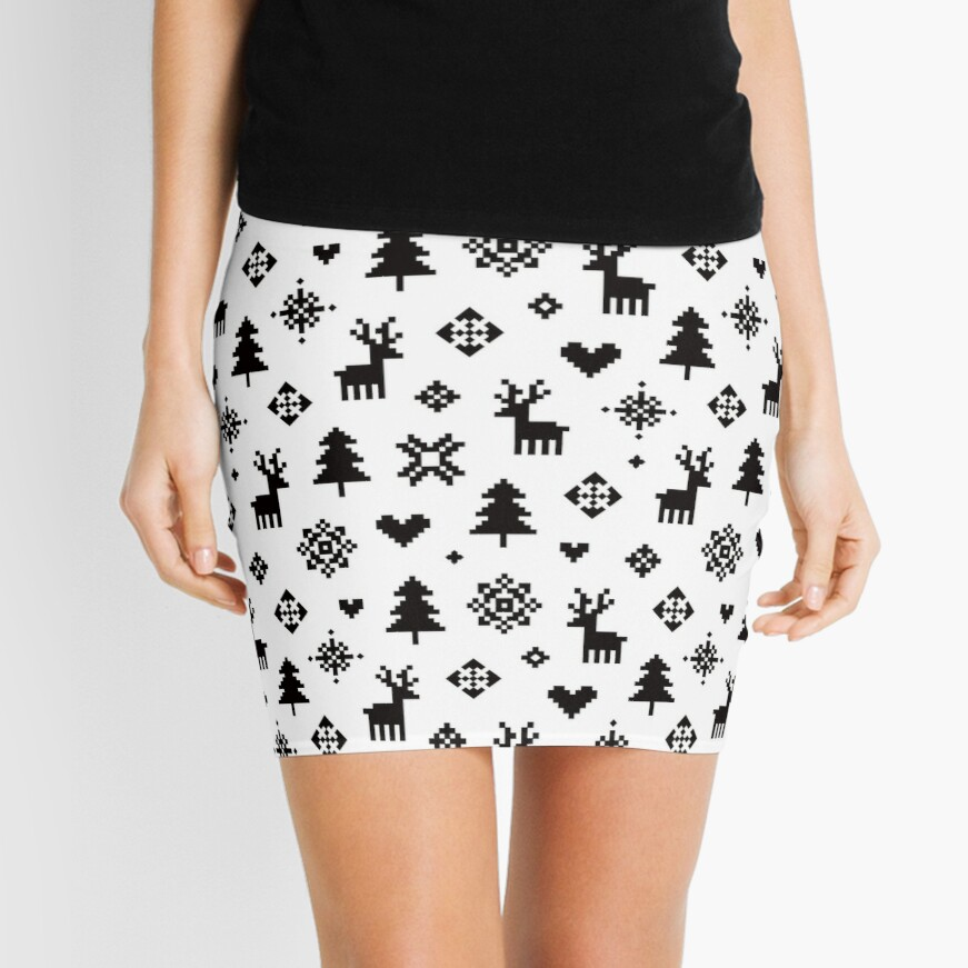 Pixel Pattern - Winter Forest - Black and White Mini Skirt