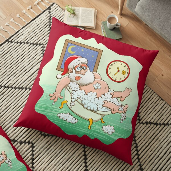 Exhausted Santa taking a bath after delivering Christmas presents Floor Pillow