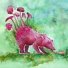 Beer Drinking Bear | Surrealistic Art, Watercolor Painting by Stephanie Kilgast by Stephanie KILGAST
