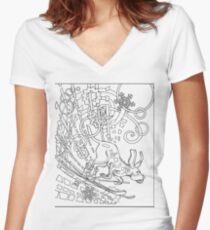 Hound Dog Illustration Women's Fitted V-Neck T-Shirt