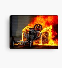 DRAG RACE; Vintage Automobile Burn-Out Print Canvas Print