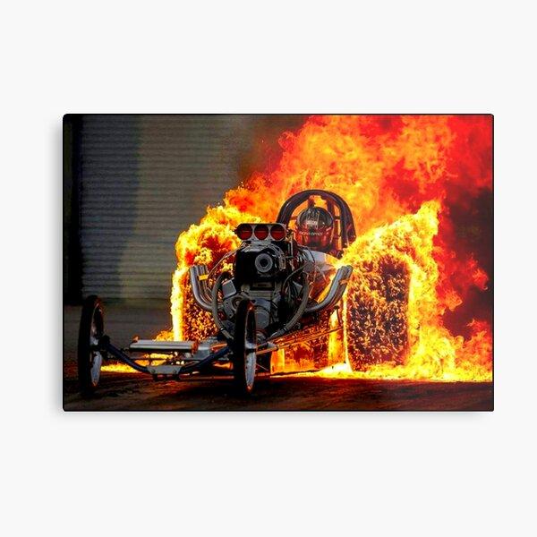 DRAG RACE; Vintage Automobile Burn-Out Print Metal Print