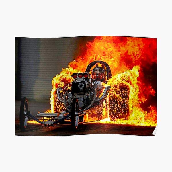 DRAG RACE; Vintage Automobile Burn-Out Print Poster