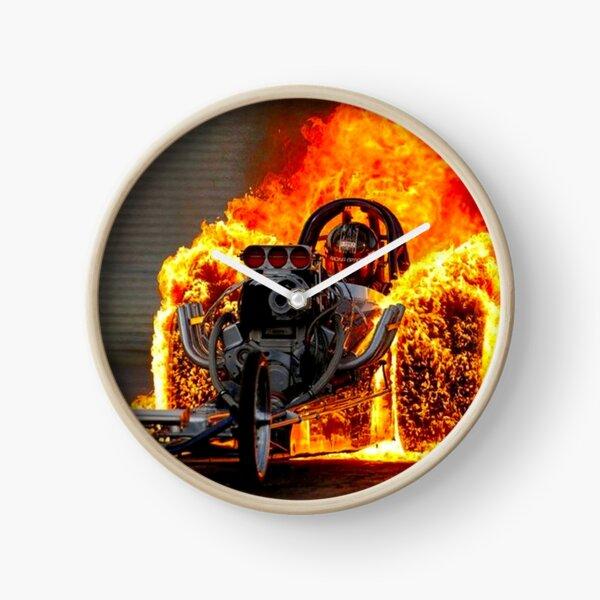 DRAG RACE; Vintage Automobile Burn-Out Print Horloge