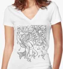 Fish with Trumpet Women's Fitted V-Neck T-Shirt