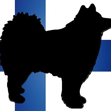 Finnish lapphund silhouette on flag by marasdaughter