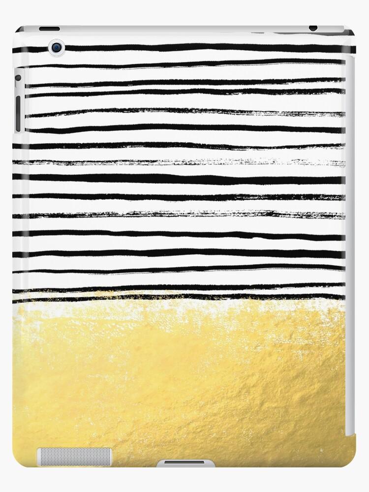 Blaire - Brushed Gold Stripes - Schwarz und Gold, Gold Trend, Gold Handytasche, Gold Cell Case von charlottewinter