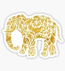 Floral Elephant in Gold Sticker