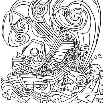 Rowing Fish Line art by ellemrcs