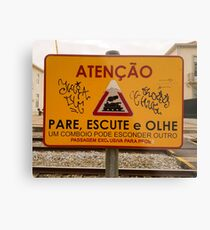 Train Crossing Sign, From Lisbon Metal Print