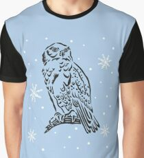 Snow owl sitting on a branch. Tattoo Style. Graphic T-Shirt