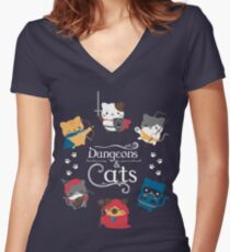 Dungeons and Cats Women's Fitted V-Neck T-Shirt