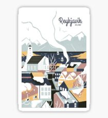 Reykjavik, Iceland, Travel poster Sticker