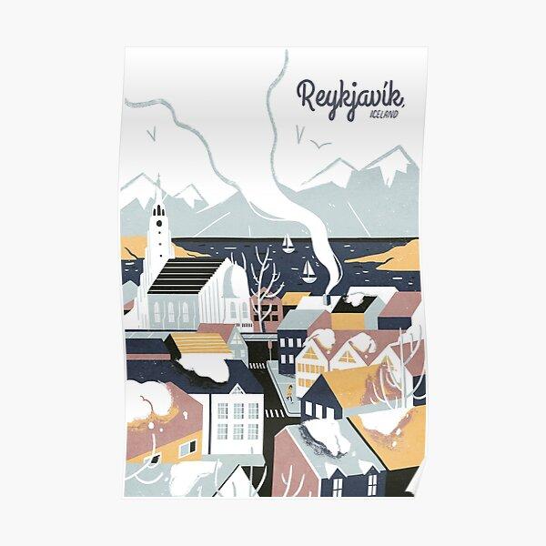 Reykjavik, Iceland, Travel poster Poster