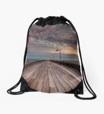 Sunrise On Ryde Pier Drawstring Bag