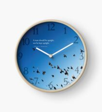 Marcus Aurelius Stoic Quote A man should be upright, not be kept upright - with bird blue sky - Online Store Clock