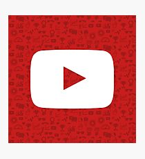 YouTube Play Logo - Full White on Pattern Red Photographic Print