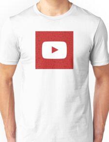 YouTube Play Logo - Full White on Pattern Red Unisex T-Shirt