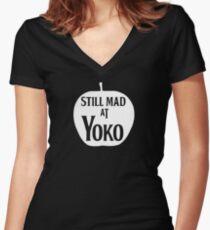 Still Mad at Yoko Women's Fitted V-Neck T-Shirt
