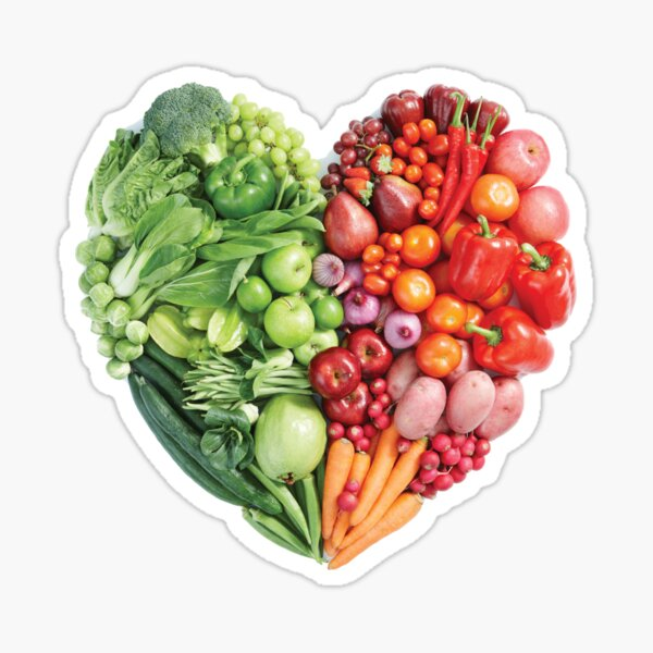 Vegan Heart Vegetables Fruits Sticker