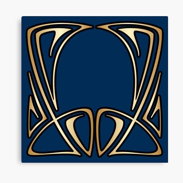 art nouveau, vintage, floral, belle époque, élégant, bleu, or, art déco, moderne, branché Impression sur toile