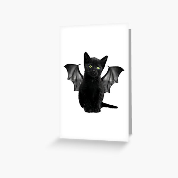 Batcat Black Cat Kitten Bat Funny T-Shirt Greeting Card
