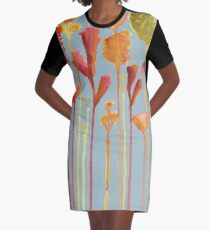 Drips of Flowers Graphic T-Shirt Dress