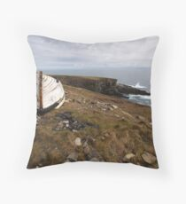 The old boat at Mizen Head Throw Pillow